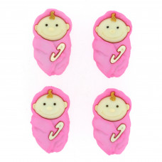 Dress It Up Shaped Novelty Button Packs - Baby girl