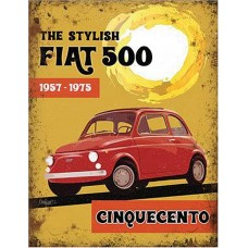Fiat 500 Cinquecento Metal Wall Sign - retro vintage style sign  (150 x 200mm) Metal Sign