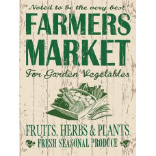 Gardening Farmers Market Metal Sign with Retro Allotments Design 15 x 20 cm