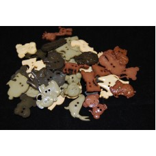 Selection of approx 40 assorted size, colours craft buttons, shapes, ANIMAL NATURAL