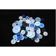 Selection of approx 60 assorted size colours craft buttons, Mixed colour BLUES