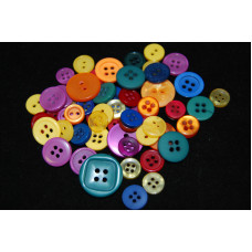 Selection of approx 60 assorted size colours craft buttons, Mixed colour BRIGHTS