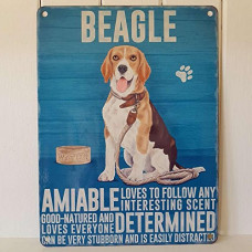 BEAGLE METAL AMIABLE DETERMINED FOLLOWS SCENT GOOD NATURED SIGN HOUND DOG PLAQUE 15 x 20cm