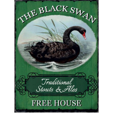 15x20cm The Black Swan Free House metal wall sign