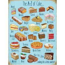 15x20cm A-Z of Cake metal wall sign