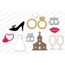 impression obsession Wedding icons die set 245S