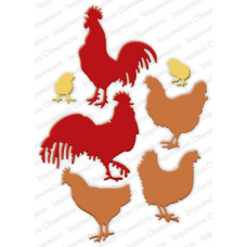 impression obsession roosters and chickens die set 241Z