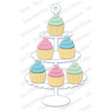 impression obsession Cupcake stand die set 321Z
