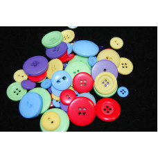 Selection of approx 60 assorted size colours craft buttons, Mixed colour PARTY
