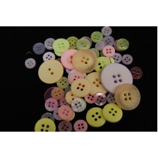 Selection of approx 60 assorted size colours craft buttons, Mixed colour PASTEL