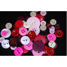 Selection of approx 60 assorted size colours craft buttons, Mixed colour PINKS