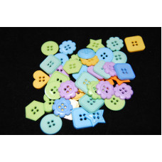Selection of approx 40 assorted size, colours craft buttons, shapes, SHAPES