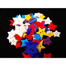 Selection of approx 40 assorted size, colours craft buttons, shapes, STARS