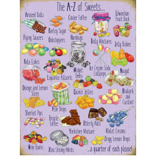 15x20cm A-Z of Sweets metal wall sign