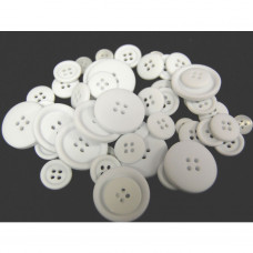Selection of approx 60 assorted size colours craft buttons, Single colour WHITE