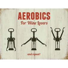 Aerobics for wine lovers  Metal Wall Sign - retro vintage style sign  (150 x 200mm) Metal Sign