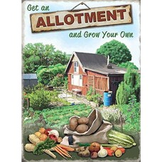 GET AN ALLOTMENT Tin Sign Gardeners Gifts Retro Tin Sign Grow Your Own Dads Gift 15 x 20cm