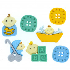 Dress It Up Shaped Novelty Button Packs - Baby fun, boy