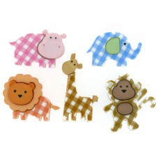 Dress It Up Shaped Novelty Button Packs - Baby safari
