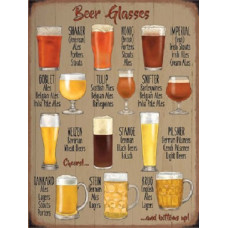 Beer Glasses  Metal Wall Sign - retro vintage style sign  (150 x 200mm) Metal Sign