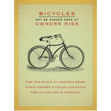 15x20cm Bicycles may be parked here - metal wall sign