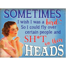 Sometimes I wish I was a bird...- Metal Wall Sign - retro vintage style sign  (150 x 200mm) Metal Sign