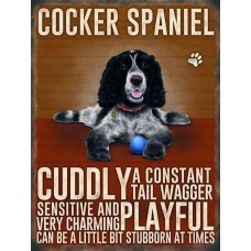 Black & White Cocker Spaniel Dog - Metal Wall Sign - retro vintage style sign  (150 x 200mm) Metal Sign