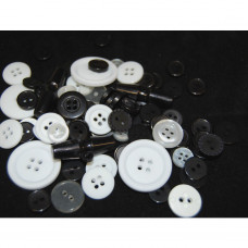 Selection of approx 60 assorted size colours craft buttons, Mixed colour BLACK AND WHITE