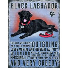 Black Labrador Personality Metal Wall Sign