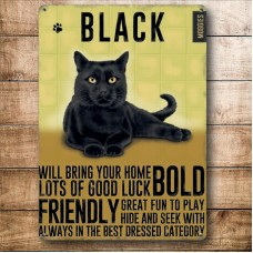 Black Cat - Metal Wall Sign - retro vintage style sign  (150 x 200mm) Metal Sign