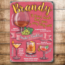 Brandy cocktails  Metal Wall Sign - retro vintage style sign  (150 x 200mm) Metal Sign