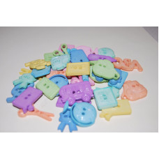 Selection of approx 40 assorted  School themed buttons in Pastel