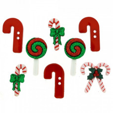 Dress It Up Shaped Novelty Button Packs - Candy Striped Xmas