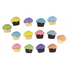 Dress It Up Shaped Novelty Button Packs - Cupcakes