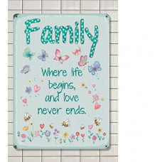Family Metal Wall Sign - retro vintage style sign  (150 x 200mm) Metal Sign