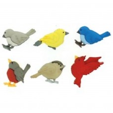 Dress It Up Shaped Novelty Button Packs - Feathered friends