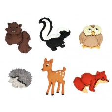 Dress It Up Shaped Novelty Button Packs - Forest Babies