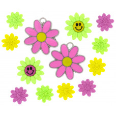 Dress It Up Shaped Novelty Button Packs - funky flowers