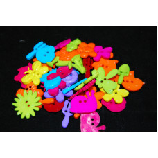 Selection of approx 40 assorted size, colours craft buttons, shapes, GARDEN BRIGHTS