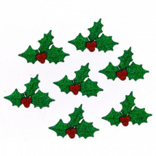 Dress It Up Shaped Novelty Button Packs - Glitter Holly