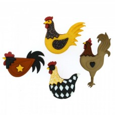 Dress It Up Shaped Novelty Button Packs - Hen house