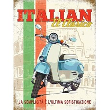 Italian El Clasico. Blue and white scooter. Classic moped, scooter. Vespa. Mods. Rome Coliseum in background. Flag colours, stripes. Ideal for house, home, garage, shed, man cave, bar, pub, cafe or shop. Small Metal/Steel Wall Sign