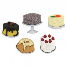 Dress It Up Shaped Novelty Button Packs - let them eat cake