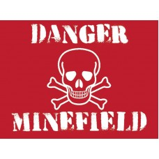 DANGER Minefield - Metal Wall Sign - retro vintage style sign  (150 x 200mm) Metal Sign