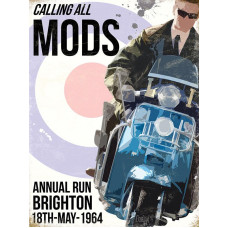 Calling all MODS - Metal Wall Sign - retro vintage style sign  (150 x 200mm) Metal Sign