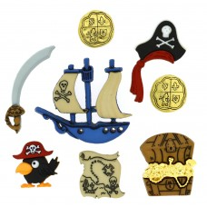 Dress It Up Shaped Novelty Button Packs - Pirates
