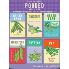 Grow your own...Podded Vegetables - Metal Wall Sign - retro vintage style sign  (150 x 200mm) Metal Sign