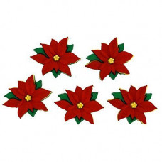 Dress It Up Shaped Novelty Button Packs - Red Poinsettias