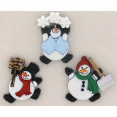 Dress It Up Shaped Novelty Button Packs -  Roly Poly Snowmen