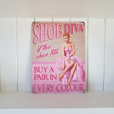 15x20cm Shoe Diva - metal wall sign